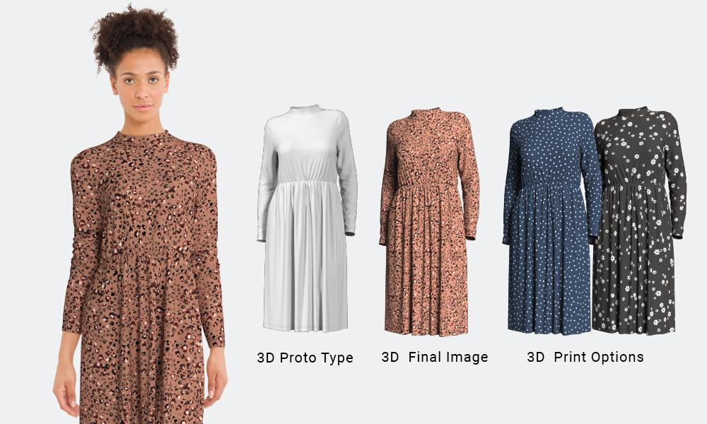3D Fashion Print on women's dress